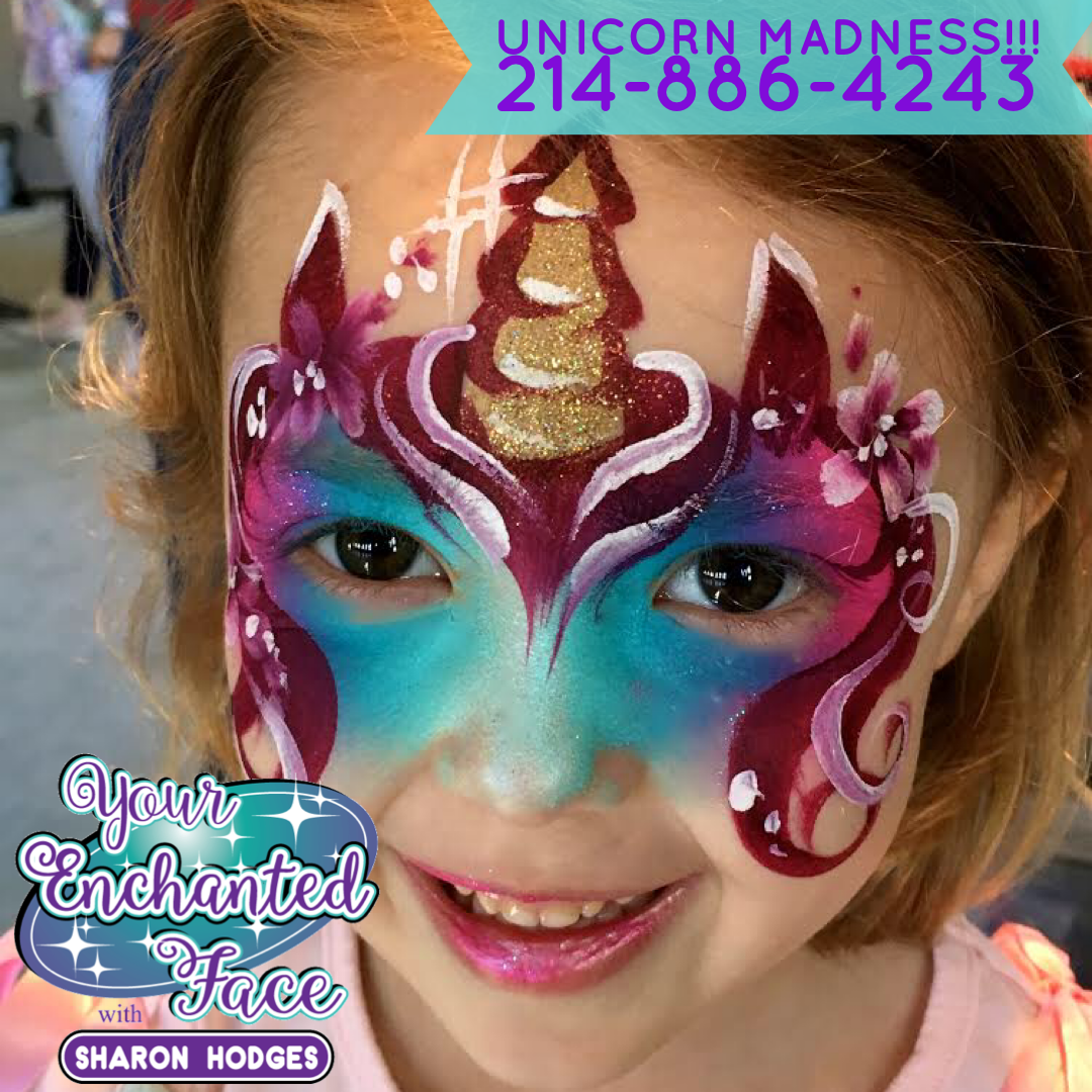 dallas face painter, face painter dallas, fort worth face painter, unicorn birthday, birthday party ideas